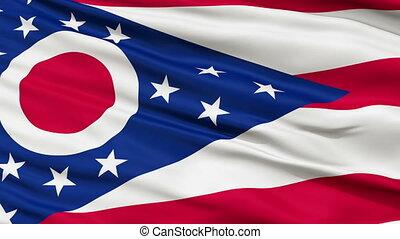 Close Up Waving National Flag of Ohio - Ohio Flag Close Up...