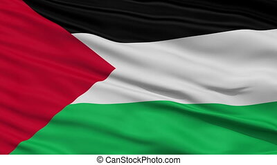 Close Up Waving National Flag of Palestine - Palestine Flag...