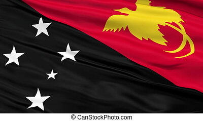 Close Up Waving National Flag of Papua New Guinea - Papua...