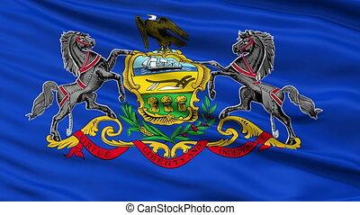 Close Up Waving National Flag of Pennsylvania