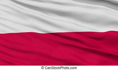 Close Up Waving National Flag of Poland