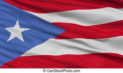 Close Up Waving National Flag of Puerto Rico - Puerto Rico...