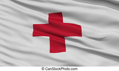 Close Up Waving National Flag of Red Cross
