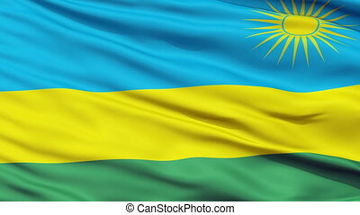 Close Up Waving National Flag of Rwanda
