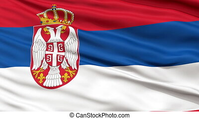 Close Up Waving National Flag of Serbia - Serbia Flag Close...