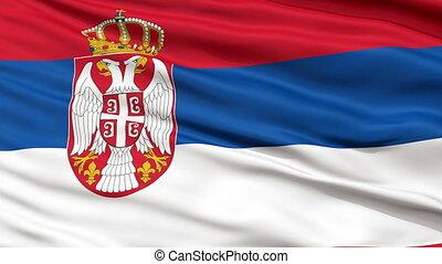 Close Up Waving National Flag of Serbia - Serbia Flag Close...