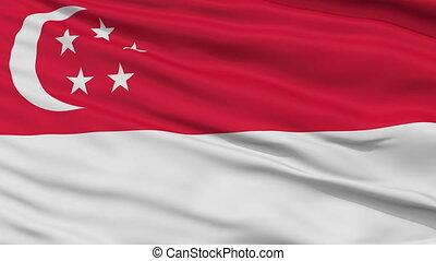 Close Up Waving National Flag of Singapore - Singapore Flag...