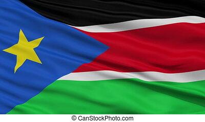 Close Up Waving National Flag of South Sudan