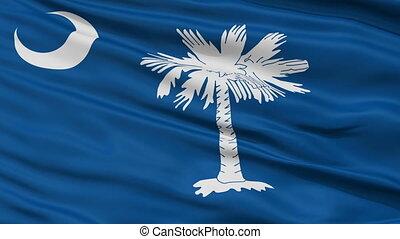 Close Up Waving National Flag of South Carolina