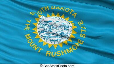 Close Up Waving National Flag of South Dakota