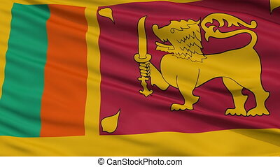 Close Up Waving National Flag of Sri Lanka - Sri Lanka Flag...