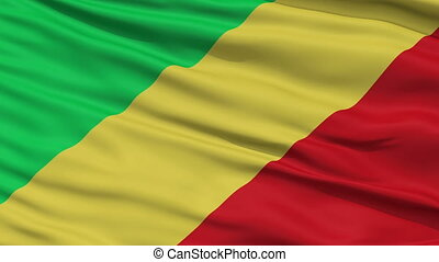 Close Up Waving National Flag of Republic of the Congo -...