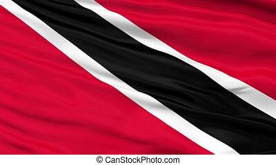 Close Up Waving National Flag of Trinidad and Tobago -...