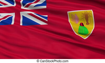Close Up Waving National Flag of Turks and Caicos Islands -...