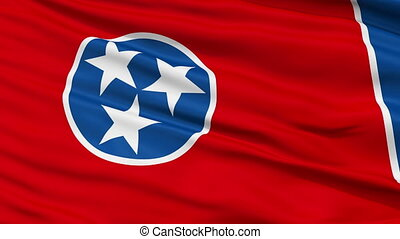 Close Up Waving National Flag of Tennessee - Tennessee Flag...
