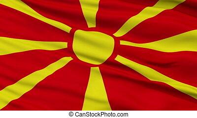 Close Up Waving National Flag of Republic of Macedonia