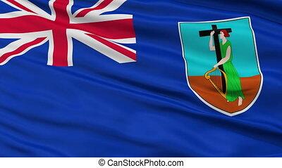 Close Up Waving National Flag of Montserrat - Montserrat...