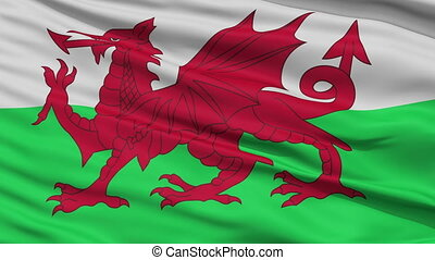 Close Up Waving National Flag of Wales - Wales Flag Close Up...