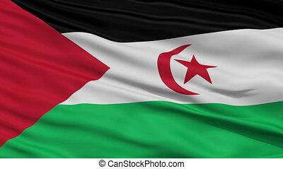 Close Up Waving National Flag of Western Sahara - Western...