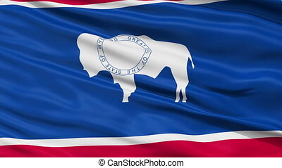Close Up Waving National Flag of Wyoming - Wyoming Flag...