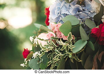 close up. wedding bouquet on a blurred background