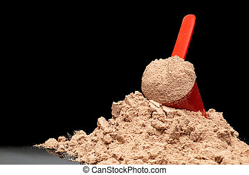 Close-up Whey Protein Powder in measuring scoop. ...
