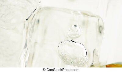 close-up whiskey in glass with ice - close-up of whiskey in...
