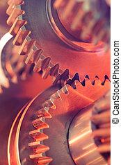 close-up, wielen, tandwiel