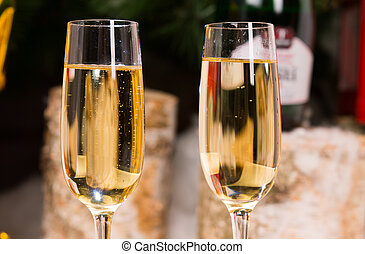 Close up Wines on Elegant Flute Glasses