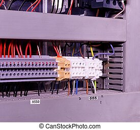 Close up wiring connectors or terminal block for industrial ...