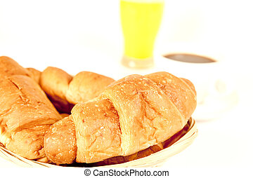 close up with a basket of croissants