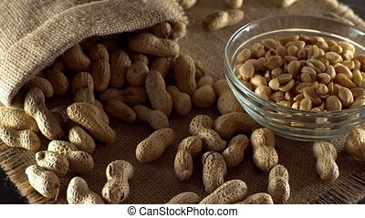Close up with peanuts rotating.