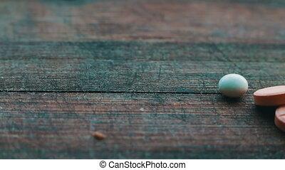 Close up with pills rotating