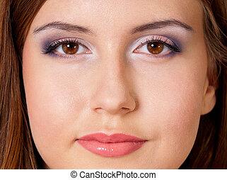 Close-up woman eyes