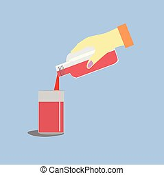 Close up woman hand is pouring red water into glass on blue background