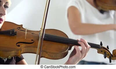 Close up woman play the violin lyric composition - Close up...