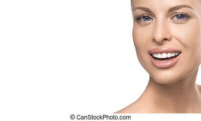 Close up woman portrait on white background. Skin care, teeth care and teeth whitening concept
