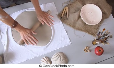 Close up Woman Rolling Clay Craftsman Skill Concept