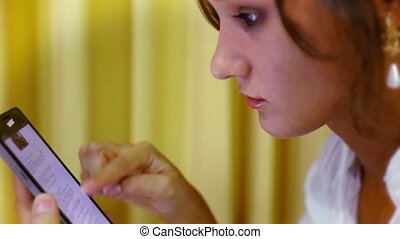 Close up woman using her cell phone. Video