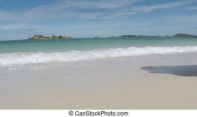 close up woman walk to white beach
