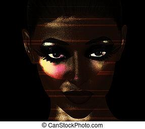Close Up Woman's Face,Digital Art