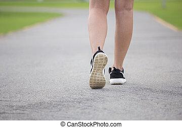 Close-up women jogging