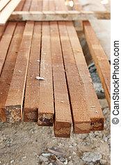 close-up Wood Construction arranged vertical