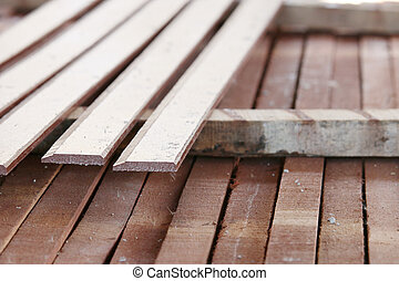 close-up Wood Construction arranged with flat