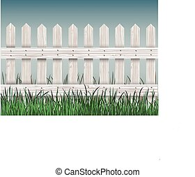 wooden fence and green grass