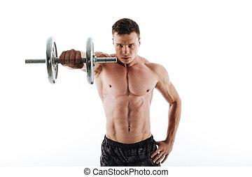 close-up, workout, jonge, gespierd, het kijken, fototoestel, verticaal, serieuze , dumbbell, man