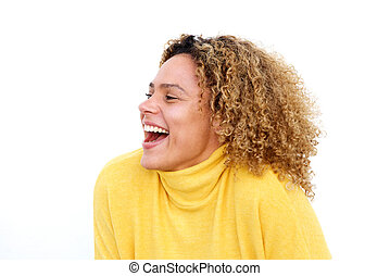 Close up young african american woman with curly hair laughing against isolated white background