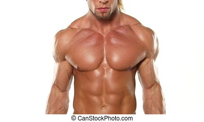 Close up young muscular man bodybuilder with a bar exercises...