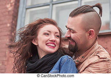 close up.beautiful loving couple on background of the city .