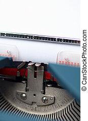 close-up/detail, van, een, ouderwetse , typemachine